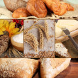 Bread and harvesting wheat collage — Stock Photo