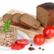 Stock Photo: Buckwheat in plate with bread and vegetables isolated on white