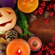 Composition for Halloween with on wooden table close-up — Foto de Stock