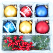 Foto de Stock  : Beautiful packaged Christmas balls, close up