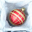 Beautiful packaged Christmas ball, close up — Stockfoto #33315831