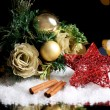 Beautiful Christmas composition on table on bright background — Stock Photo