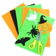 Bright felt and handmade Halloween decorations, isolated on white — ストック写真