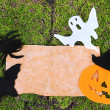 Old paper with Halloween decorations on green moss background — Stock Photo #33316499