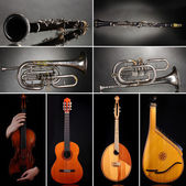 Collage of musical instruments — Stock Photo