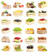 Collage of fruits and vegetables in wooden boxes isolated on white — Stock Photo