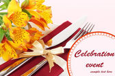 Festive dining table setting with flowers close up — Stock Photo