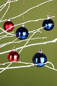 Christmas toys hanging on branch on green background — Stock Photo