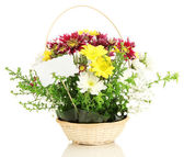 Bouquet of fresh flowers for sale isolated on white — Stock Photo