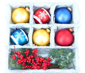 Beautiful packaged Christmas balls, close up — Stock Photo