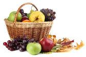 различные фрукты с корзиной и желтые листья, изолированные на белом фоне — Стоковое фото