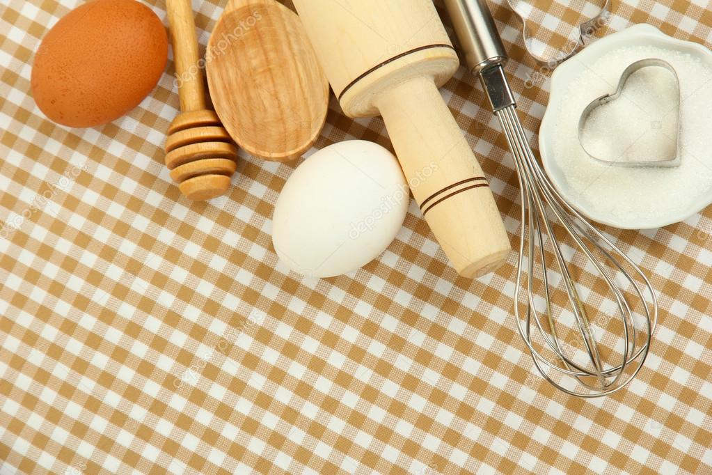 Ingredients And Kitchen Tools On Tablecloth Background Stock Image