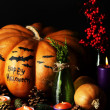 Composition for Halloween with pumpkins — Stock Photo