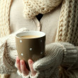 Female hands with hot drink, close-up — Stock Photo #33378329