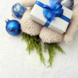 Female hands  in mittens with gift box, on white background — Stock Photo