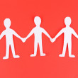 Paper people in social network concept on red background — Stock Photo