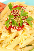 Rigatoni pasta dish with tomato sauce close up — Stock Photo