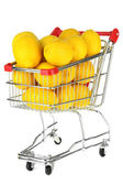 Ripe lemons in trolley — Stock Photo