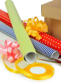 Materials and accessories for wrapping gifts — Stock Photo
