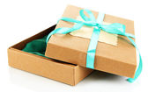 Present box tied with ribbon — Stock Photo