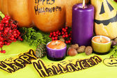 Composition for Halloween on wooden table close-up — Stock Photo