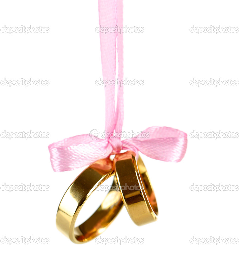 Wedding Rings Tied With Ribbon Isolated On White Stock