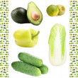 Collage of green vegetables and fruits — Stock Photo