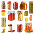 Set of canned vegetables and fruits isolated on white — Stock Photo