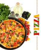 Colorful composition of delicious pizza, vegetables and spices on white background close-up — Stock Photo