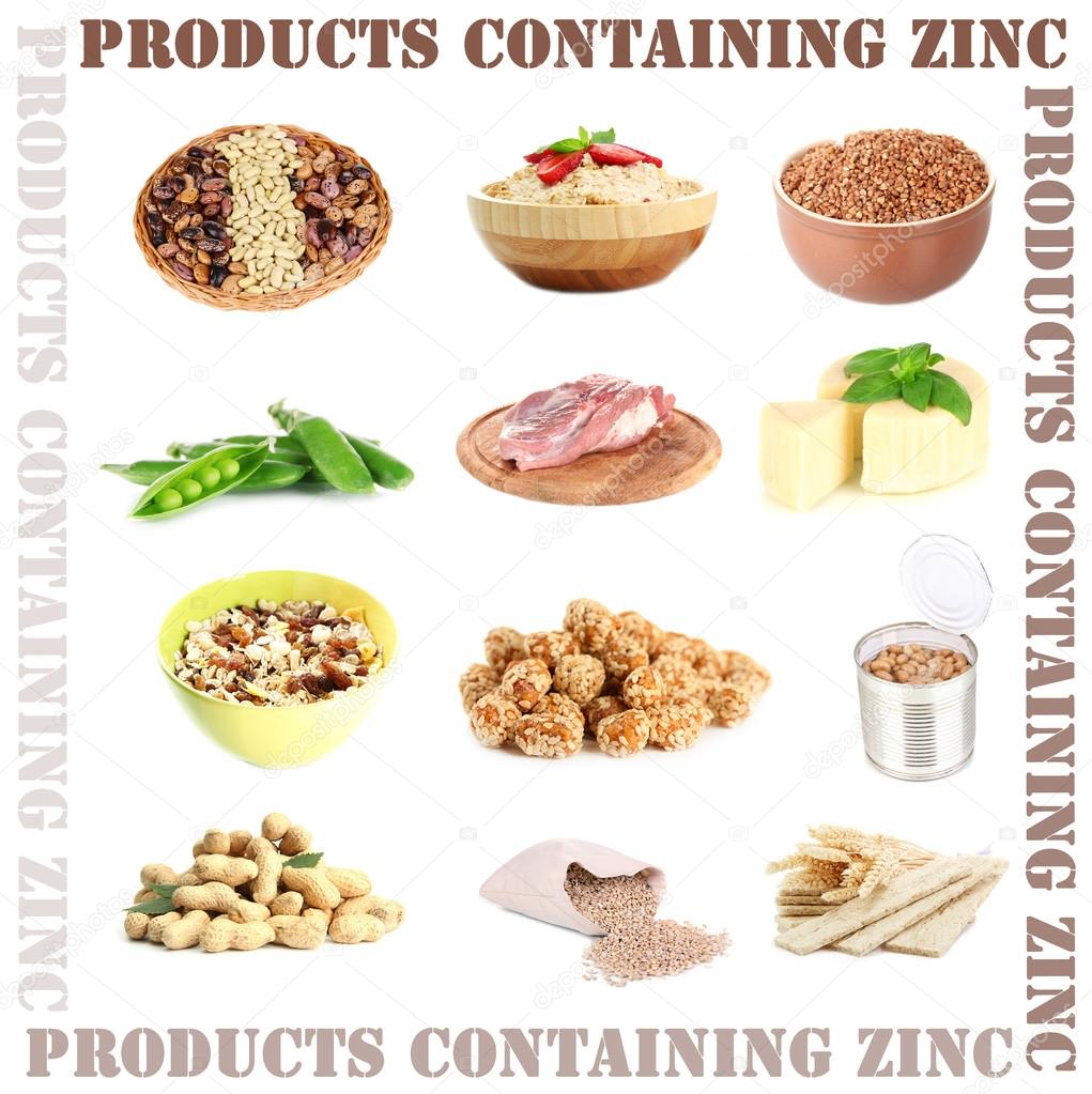 Collage of products containing zinc — Stock Photo ...