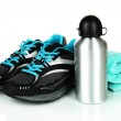Sports bottle,sneakers and towel isolated on white — Stock Photo #33452589