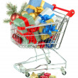 Stock Photo: Christmas gifts in shopping trolley, isolated on white