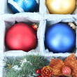 Beautiful packaged Christmas toys, close up — Stock fotografie #33453639