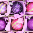 Beautiful packaged Christmas balls, close up — Stock Photo #33453669