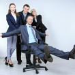 Group of business people on gray background — Stock Photo #33455973