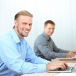 Office staff is during work in workplace — Stock Photo