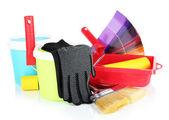Plastikowe wiadro z farbą, rolki, szczotki i jasne paletę kolorów na białym tle — Zdjęcie stockowe