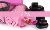 Beautiful spa setting with flower close up — Stok fotoğraf