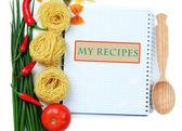 Pişirme bir kavram. bakkaliye boş kitabı ile yakın çekim — Stok fotoğraf
