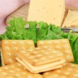 Sandwich crackers with cheese close up — Stock Photo #33480725