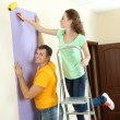 Young couple doing renovation in new house — Stock fotografie