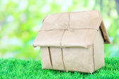 House wrapped in brown kraft paper, on green grass, on nature background — Stock Photo