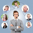 Collage of diverse people talking on phone — Stock Photo #33605491