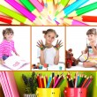 Collage of education children — Stock Photo