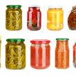 Set of canned vegetables isolated on white — Stock Photo #33606119