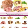 Stock Photo: Collage of products containing zinc