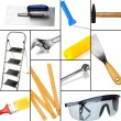 Collage of different tools isolated on white — Stok fotoğraf