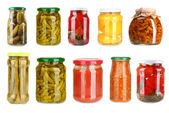 Set of canned vegetables isolated on white — Zdjęcie stockowe