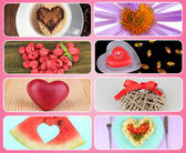 Collage of heart-shaped things — ストック写真