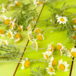 Chamomile flowers on wooden background — Stock Photo